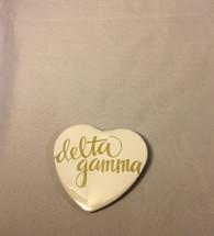 Delta Gamma Sorority Heart Shaped Pin- White
