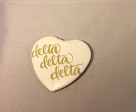 Delta Delta Delta Tri-Delta Sorority Heart Shaped Pin- White