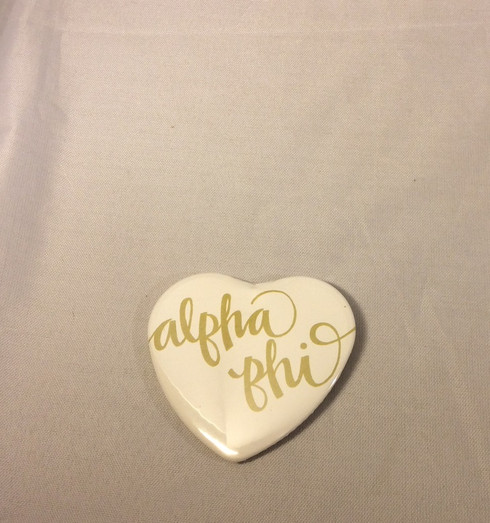 Alpha Phi Sorority Heart Shaped Pin- White