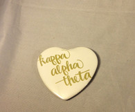 Kappa Alpha Theta Sorority Heart Shaped Pin- White