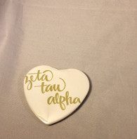 Zeta Tau Alpha ZTA Sorority Heart Shaped Pin- White