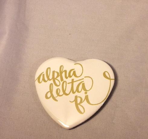 Alpha Delta Pi ADPI Sorority Heart Shaped Pin- White