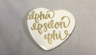 Alpha Epsilon Phi AEPHI Sorority Heart Shaped Pin- White