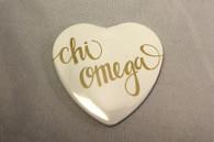 Chi Omega Sorority Heart Shaped Pin- White
