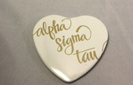 Alpha Sigma Tau Sorority Heart Shaped Pin- White