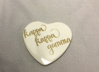 Kappa Kappa Gamma Sorority Heart Shaped Pin- White