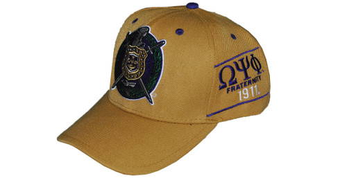 Omega Psi Phi Fraternity Crest with Founding Year Hat-Old Gold