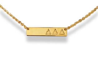 Delta Delta Delta Tri-Delta Sorority Bar Necklace