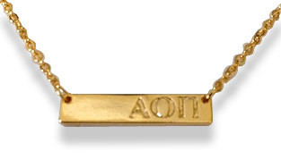 Alpha Omicron Pi Sorority Bar Necklace