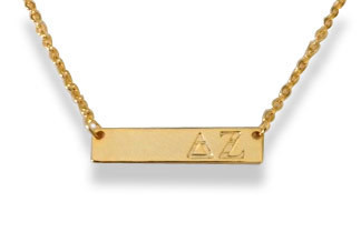 Delta Zeta Sorority Bar Necklace