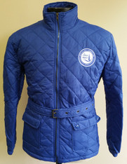 Zeta Phi Beta Sorority Quilted Riding Jacket with Belt-Blue