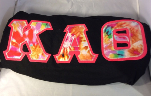 Sorority Tie Dye Double Stitched Letter Shirt- Black