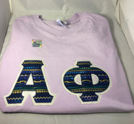 Sorority Tribal Print Double Stitched Letter Shirt- Light Purple