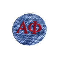 Fabric Button Inspiration- Blue fabric with Red Letters