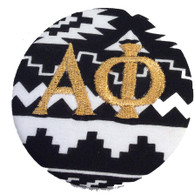 Fabric Button Inspiration- Black and White Tribal Print with Metallic Gold Letters