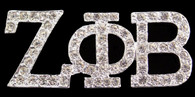 Zeta Phi Beta Sorority Crystal Pin- Silver