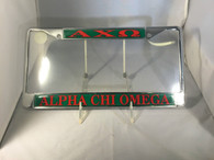 Alpha Chi Omega Sorority License Plate Frame- Red/Green