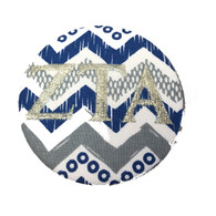 Fabric Button Inspiration- Blue, White, and Gray Chevron