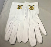 Order of the Eastern Star Daughter of the Nile White Gloves with Symbol