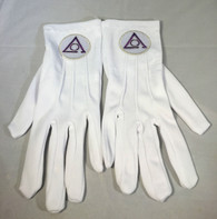 Order of the Eastern Star Circle of Perfection White Gloves with Symbol