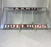 "Alabama A&M ""AAMU Bulldogs"" Maroon/Silver License Plate Frame"