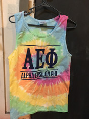 Alpha Epsilon Phi Sorority Tie Dye Tank Top Shirt-Pastel