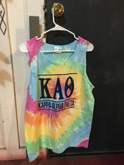 Kappa Alpha Theta Sorority Tie Dye Tank Top Shirt-Pastel