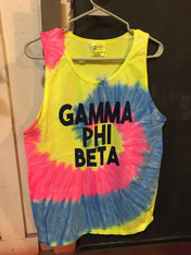 Gamma Phi Beta Sorority Tie Dye Tank Top Shirt-Neon