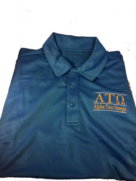 Alpha Tau Omega Fraternity Dri-Fit Polo-Blue