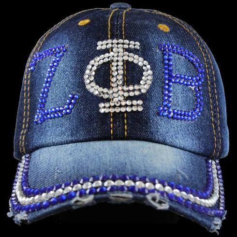 Zeta Phi Beta Sorority Distressed Denim Hat Cap with Rhinestones