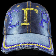 Sigma Gamma Rho Sorority Distressed Denim Hat Cap with Rhinestones