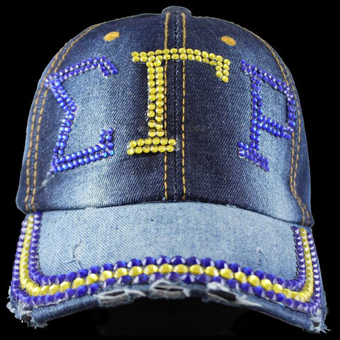Sigma Gamma Rho Sorority Distressed Denim Hat Cap with Rhinestones