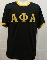 Alpha Phi Alpha Fraternity Ringer T-shirt-Black