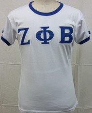 Zeta Phi Beta Sorority Ringer T-shirt-White