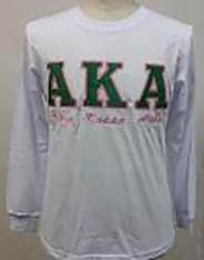 Alpha Kappa Alpha AKA Long Sleeve Shirt- White