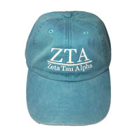 Zeta Tau Alpha ZTA Sorority Hat- Caribbean Blue