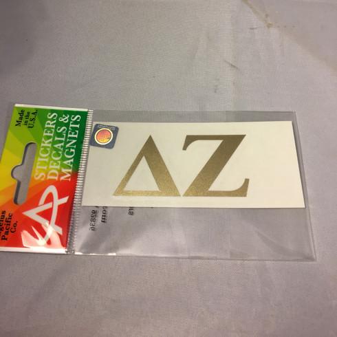 Delta Zeta Sorority Metallic Gold Letters