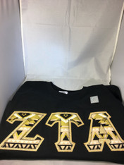 Shirt Inspiration Sorority Double Stitched Letter Shirt- Gold and Black Tribal
