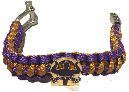 Omega Psi Phi Fraternity Survival Paracord Bracelet With Symbol