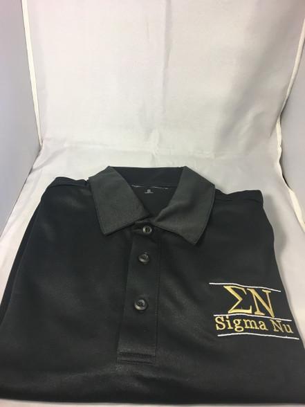 Sigma Nu Fraternity Dri-Fit Polo- Black