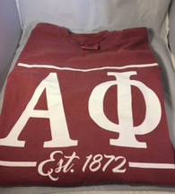 Alpha Phi Sorority Long Sleeve Comfort Colors Shirt- Brick