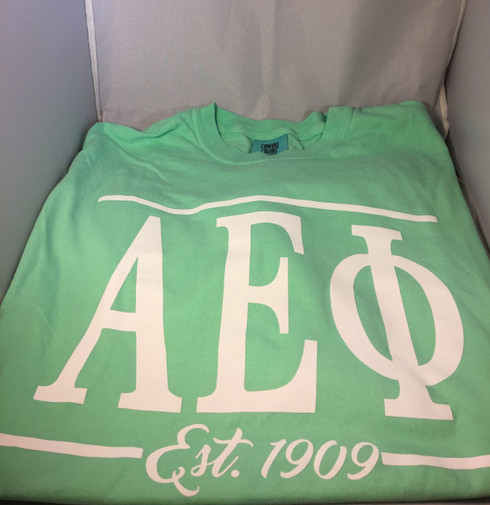Alpha Epsilon Phi AEPHI Sorority Long Sleeve Comfort Colors Shirt- Mint