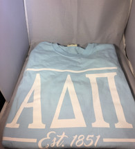 Alpha Delta Pi ADPI Sorority Long Sleeve Comfort Colors Shirt- Chambray