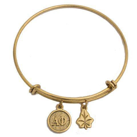 Alpha Phi Sorority Expandable Bracelet- Gold