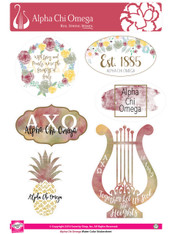 Alpha Chi Omega Sorority Stickers- Water Color