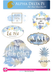 Alpha Delta Pi ADPI Sorority Stickers- Water Color