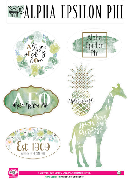 Alpha Epsilon Phi AEPHI Sorority Stickers- Water Color