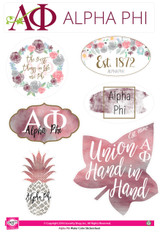 Alpha Phi Sorority Stickers- Water Color