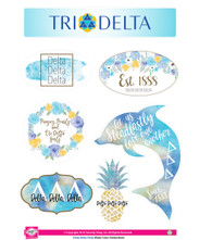Delta Delta Delta Tri-Delta Sorority Stickers- Water Color