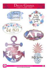 Delta Gamma Sorority Stickers- Water Color